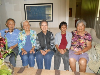 Class of '52 Potluck Dinner 5/15/14 on Lanai (L to R) Stanley Oshima, Kiyomi Kunishige, Helen Takenouchi, Molly Sakamoto, Hattie Higa