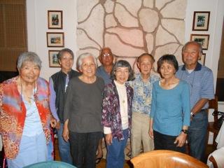 Dinner at Hotel Lanai on 5/16/14 Frank Takenouchi, Midori Oshima, Howard Sakamoto spouses of our classmates.