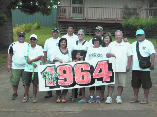 Left to right: Everett Cabanilla, Stewart Oyama, Patrick Obado, Edna (Allas) dela Cruz, Lance Nobui, Betty (Hobdy) Applebaker, Kanoe Macario (Evelyn's granddaughter), Evelyn (Tolentino) Calbero, Eric Onuma, Myrna (Awa) Bedford, Michael Kawasaki, Billy Park
